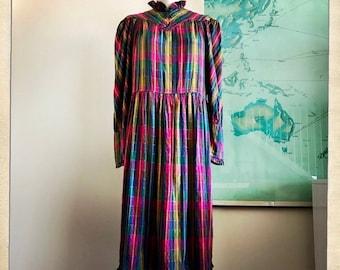 Lovely GAUZY Vintage 70s ADINI Blue Metallic Thread Indian RAINBOW Prairie Dress Hippie Boho Festival - Size Small