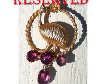 RESERVED! Antique Purple Garnet 9K Gold EMU Pendant Colonial Australian Victorian 1890 Bird Sculpture