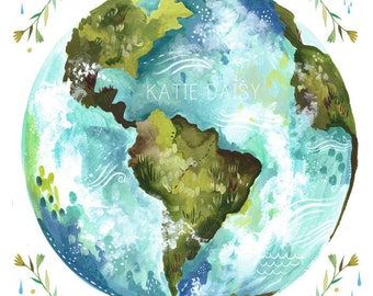 Dear Earth - various sizes - STRETCHED CANVAS - Katie Daisy art