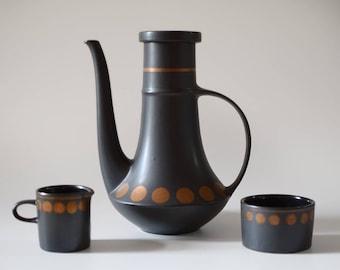 Vintage Coffee Service Purbeck Pottery England Coffee Tea Pot Creamer Sugar Set
