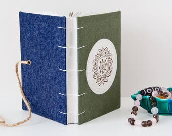 Unlined Journal - 144 Page Blank Journal Handmade with Mandala Stencil Linen Cover - Meditation Gifts