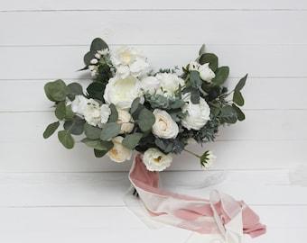 White peony rose eucalyptus Bridal bouquet Faux bouquet  Wedding flowers Silk flowers Boho wedding Outdoor Greenery - size 15 inch