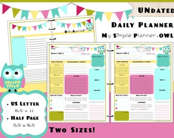 Printable Daily Calendar Planner PDF Refills - US Letter & Half Page Size - Simple Life Owl