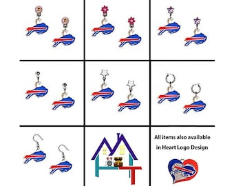 NFL Buffalo Bills Logo Earrings with Authentic Charms!