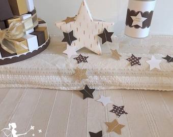 Chocolate stars - white - gold 230 cm Garland