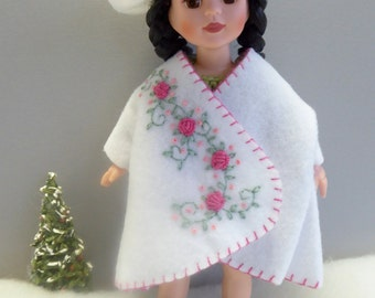 """HAND EMBROIDERED Doll Coat and Matching Beret for all 8""""-9""""/20-23cm dolls like Bjds, Middle Blythe, Ginny, Patch, Pepper"""