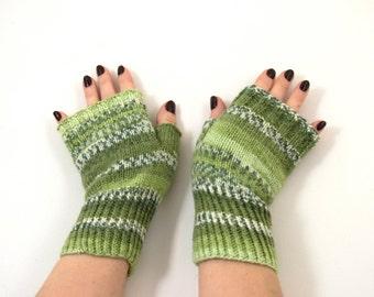 Hand Knitted Fingerless Gloves - Green, Gray Size Medium