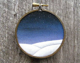 """A Dusting at Dusk tiny 3"""" watercolor painting on linen"""