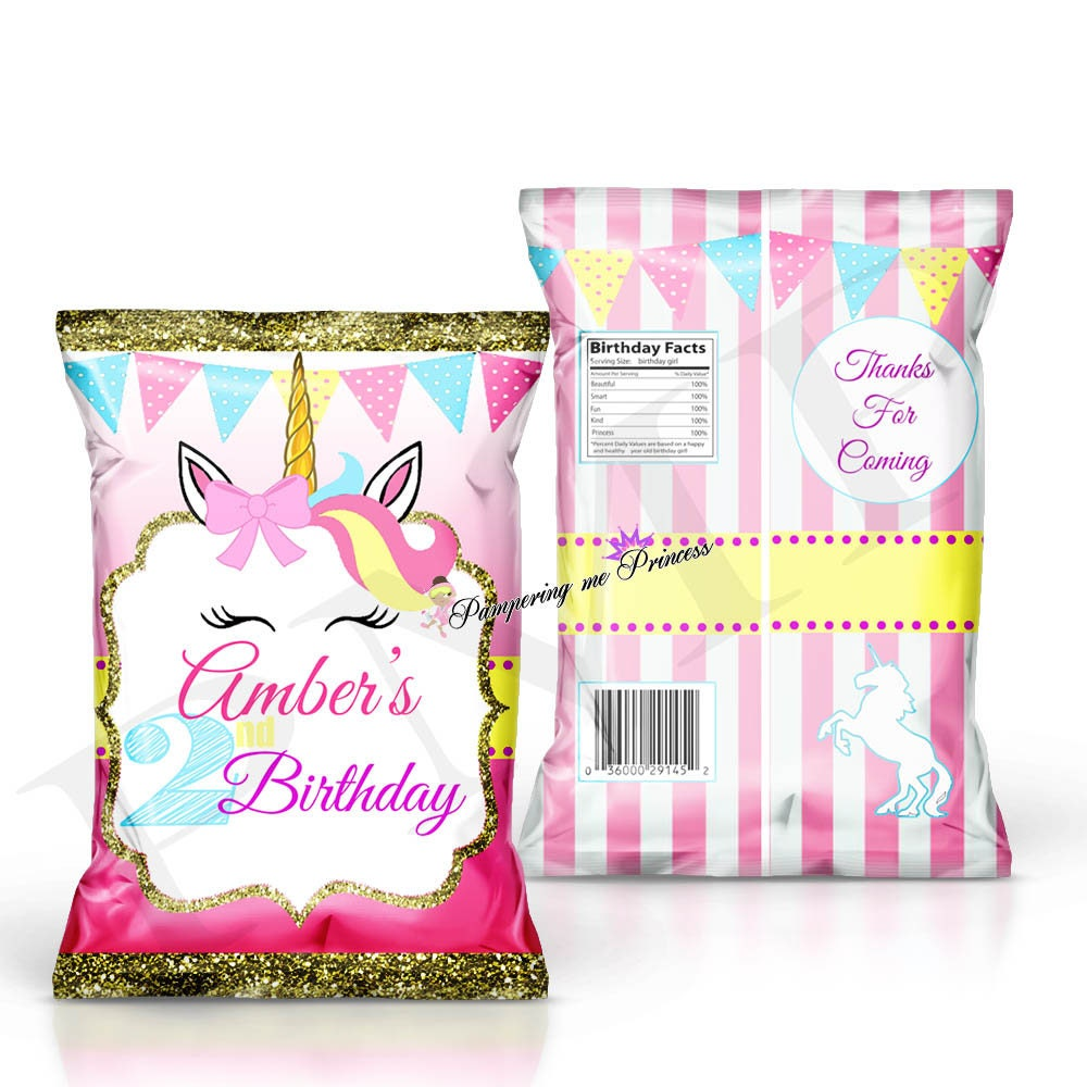 unicorn party favors unicorn birthday treat bags printed. Black Bedroom Furniture Sets. Home Design Ideas