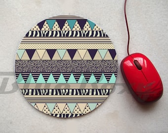Aztec Geometric Mousepad, Office Mousepad, Computer Mouse Pad, Fabric Mousepad