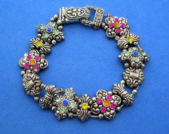 1980s Slide Bracelet, Silver Tone Sliding Chain Charms Multi Colored Rhinestones