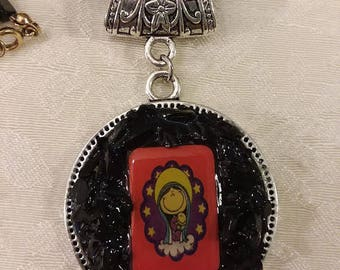 Our Lady of Guadalupe, La Virgencita, Medallion, Pendant, Black Onyx, Necklace