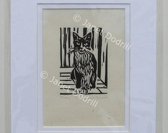 Original Linocut Print - Stray, 6/16