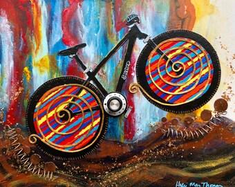 Mountain Bike Art, Mountain Bicycle Fine Art Print, Mountain Bike Giclee Print