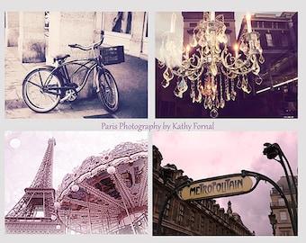 Paris Photography Collection Set, Vintage Romantic Paris Blush Prints, Eiffel Tower Carousel,Paris Metro Sign,Paris Chandelier,Paris Bicycle