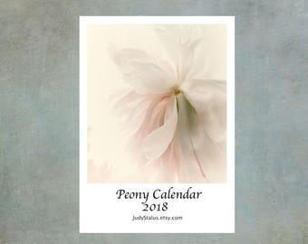 2018 Peony Calendar, Peony Desk Calendar,  2018 Flower Photo Calendar,  5 x7, Stocking Stuffer,
