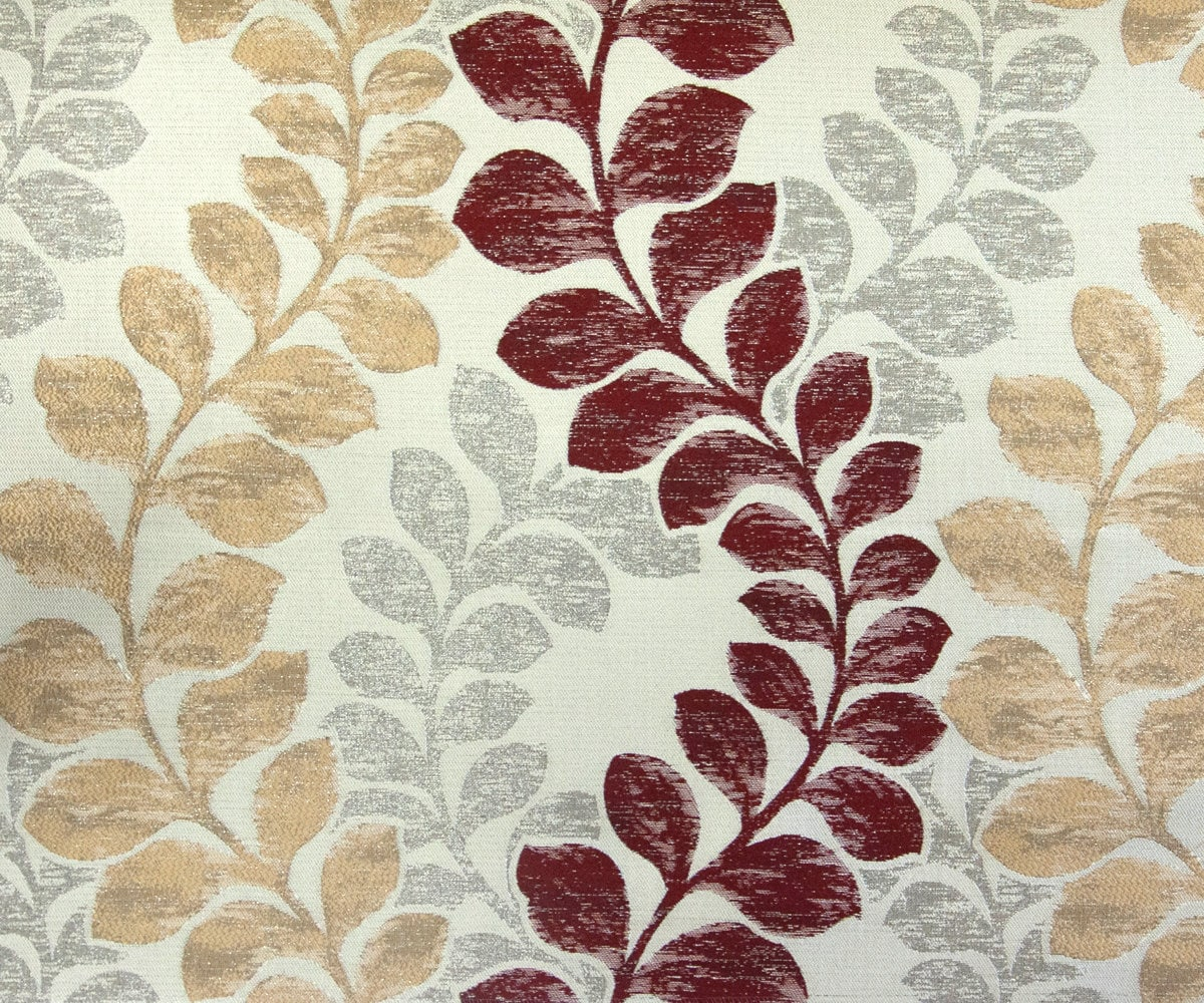 Beige Maroon Leaves IL Fabric By The Yard Curtain Fabric