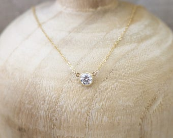 Solitaire necklace, gold solitaire necklace, cz necklace, dainty necklace, gold cz necklace, solitaire crystal necklace, layering
