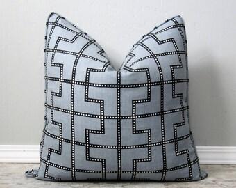 Schumacher Bleecker Decorative Pillow Cover-Twilight Geometric Grey Linen-18x18, 20x20, 22x22