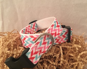 Dog Collar- red, pink, and blue- handmade