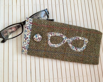 Harris Tweed and Liberty Fabric  Spectacle Pouch