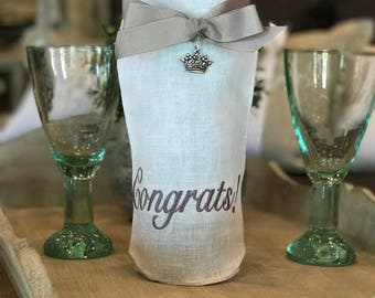 Congratulations Linen Wine Bag Congratulations Wine Bag