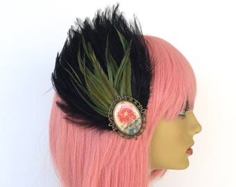 Black Feather Fascinator, Green Feather Fascinator, Asian Hair Clip, Peony Hair Flower