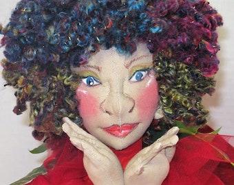 Red Sprite Cloth Art Doll, Fantasy Fairy Soft Sculpture Doll, Pixie Nymph Art Doll, Art Doll Gift, JDCreativeDolls