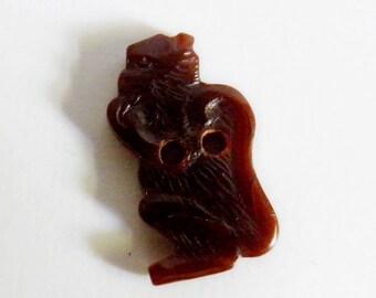 Realistic Bakelite Button Brown Monkey