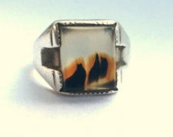 Deco Moss Agate Sterling Men's Ring - Size 8