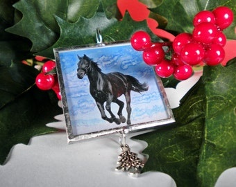 Horse Ornament, Personalized, Custom, Black Horse, Friesian, Christmas, Holidays, Horse, Cowgirl, Cowboy, Equestrian, FREE US Shipping