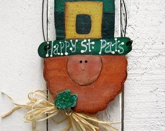 St. Paddy's Day Door Hanger St. Patrick's Day Decor Leprechaun Wood St. Paddy's Day Decor Irish Decor Shamrock Decor Green Irish Decorations
