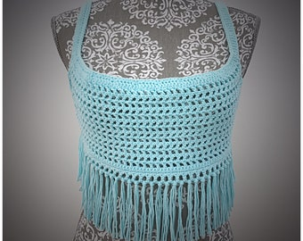 Beach Wear Crochet Top - Icy Blue, made with 100% Australian Cotton.