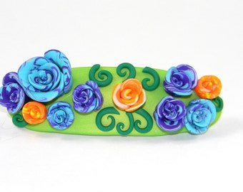 Blossoming Flower Garden Barrette - Lovely Organic Blooming Roses in Ice Blue, Purple, and Orange Hair Clip