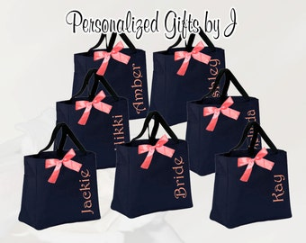 6 Monogrammed Totes, Bridesmaid Gift Tote Bags, Embroidered Tote, Personalized Tote, Bridal Party Gift