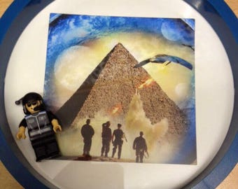 Stargate Lego Frame Blue Round Frame themed  personalisation available