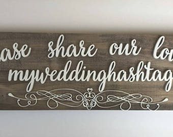 Large Hashtag Sign, Hashtag signs, Hashtag for wedding, Share our love, Wedding signs, Wedding Hashtag, Reception Hashtag, Rustic wedding