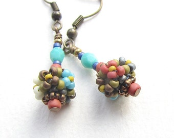 Floral Pattern Handstitched Beaded Bead Earrings, Antiqued Brass Earwires