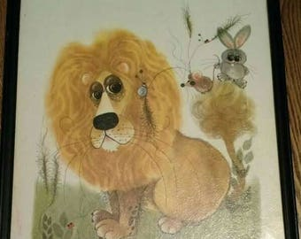 Vintage George Buckett Lion and Mouse Print Framed 1963