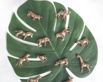 Safari Jungle Mini Animal Figures Gold, Silver, Party Animals, Cake Toppers, Favors, Wedding Escort Place Cards, Birthday Décor