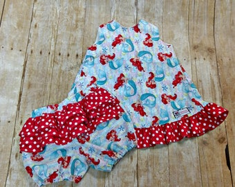 Girls Toddler Ariel Little Mermaid Pinafore and Bloomer 9m 12m 18m 24m 2T 3T 4T