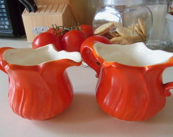 Vintage Bright Orange Sugar and Creamer Set