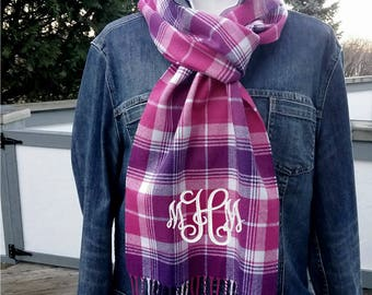 Plaid Winter Scarf with Monogram,  Pink Purple White plaid scarf personalized
