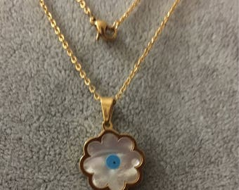 Stainless Steel and nacre flower with evil eye necklace