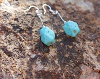 Geometric Long Dangle Turquoise Earrings
