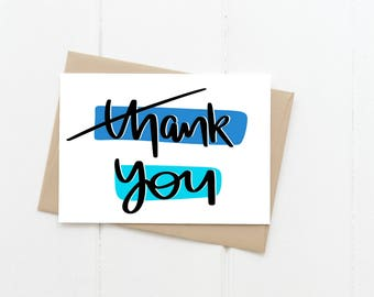 Thank You Greeting Card, Thanks Blue Blank Card
