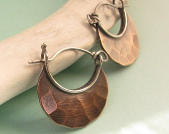 Small Copper Earrings, Forged Copper And Sterling Silver Hoop Earrings, Small Hoops, Contemporary Earrings, Hammered Crescent Earrings