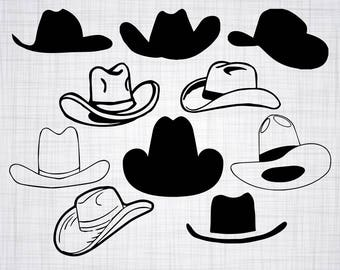 Cowboy Hat SVG Bundle, Cowboy Hat SVG, Cowboy Hat Clipart, Cut Files For Silhouette, Files for Cricut, Vector, Svg, Dxf, Png, Eps, Decal