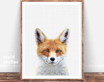 Fox Print, Woodland Nursery Wall Art, Woodland Animals, Forest Animal Print, Nursery Decor, Nursery Art, Nursery Prints, Nursery Animal