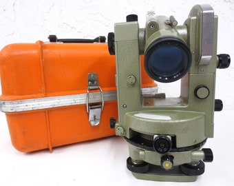 "Pentax Geotect GT-4B Surveyor Level Transit Theodolite with Hard Case, 28X Scope, 20"" Glass Circle, All Metal Body, Made in Japan"